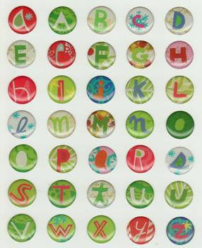 Epoxy Sticker Alphabet Christmas 3D Circle Card Stickers A-Z *