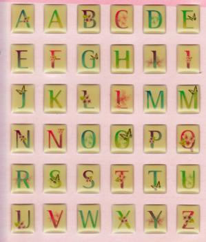 Epoxy Alphabet 3D Stickers - Rectangle Shaped with A-Z Lettering . *