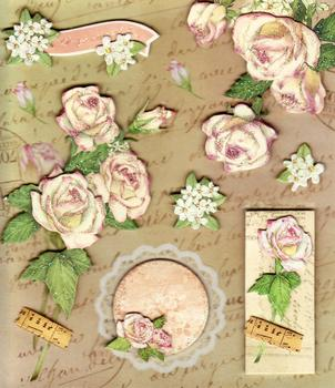 Glittered Elegant Roses 3D Sticker Collection . *