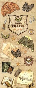 World Travel Vintage Steampunk Sticker Collection . *