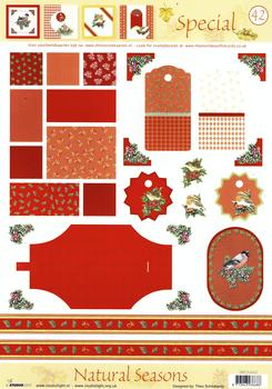 A4 Christmas Robins Special sheet No42 Pack of Ten . *