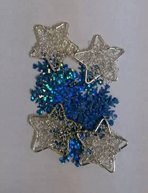 Silver stars & Blue Snowflakes - Card Embellishments . *