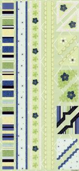 Blue & Green Flat Stickers - Floral Themed