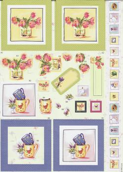 Card Toppers - Foiled Floral Design - Diecut Sheet . -