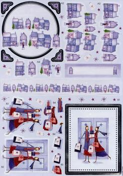 Foiled Edged Christmas themed Die-Cut - Christmas Village & Ladies Who Shop . -