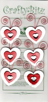 6 x Red Hearts on Silver Background Jewelled Card Embellishment . *