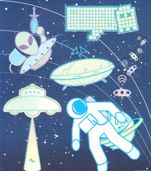Space Themed Diecuts with Glittered Edging *