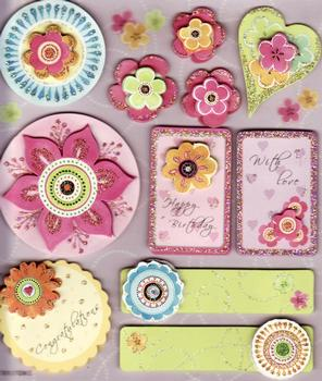Pink Flowers & Hearts Card Embellishments *