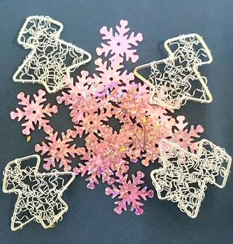 Silver Christmas Trees & Pink Snowflakes - Card Embellishments *