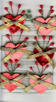 6 x Red Foiled Hearts With Gold Ribbon Bow . *
