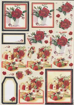 Diecut Roses - A4 sheet . *
