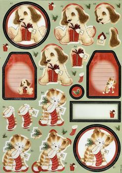 Cute Christmas Puppy & Kitten Diecut Sheet . *