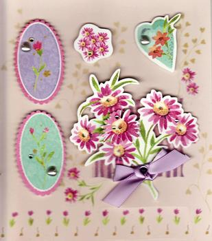 Flowers with jewels - Stick on Embellishments C73D46 *