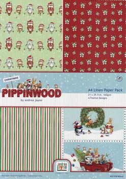 Pippinwood - A4 Pack of 4 Christmas Craft Sheets - 3 x Backing - Christmas Owl / Floral / Stripe & 1 Topper Sheet - Xmas Pictures - pp043 . *