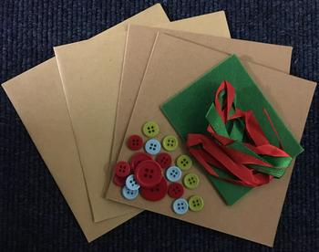 2 x Craft Card and Envelopes with Buttons Ribbon and Felt - pp56 . -Jacksons mail Order