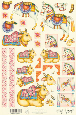 Mary Rahder - A4 120g Quality Multi Craft Sheet - Matador Horse & Bull Theme 3D Easymake Mary Rahder