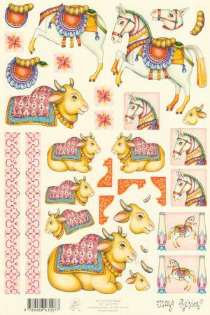 Mary Rahder - A4 120g Quality Multi Craft Sheet - Matador Horse & Bull Theme 3D Easymake Mary Rahder