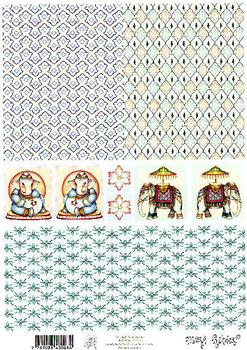 Mary Rahder - A4 120g Quality Backing Sheet - Indian Elephants 3D Easymake Mary Rahder