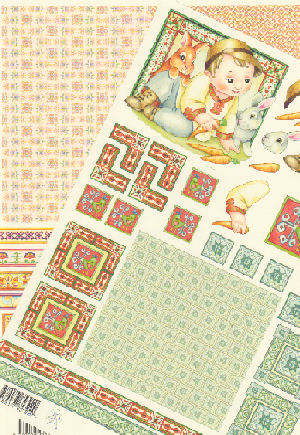 2 Sheets -  Mary Rahder - A4 120g Decoupage sheet with backing paper Specials RRP £1.79