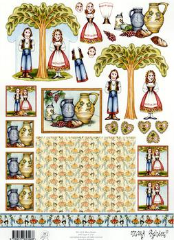 Mary Rahder - A4 120g Quality Craft Sheet - Dutch boy & Girl Specials RRP £1.20