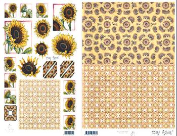 2 Sheets -  Mary Rahder - A4 120g Sunflower Decoupage sheet with FREE  backing paper Specials Mary Rahder