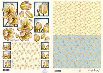2 Sheets -  Mary Rahder - A4 120g Decoupage tulips sheet with FREE  Backing paper Specials Mary Rahder