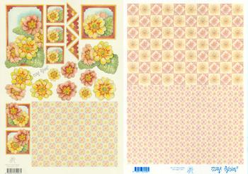 2 Sheets -  Mary Rahder - A4 120g Decoupage floral sheet with FREE  Backing paper Specials Mary Rahder