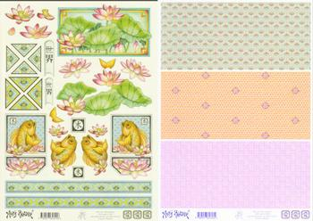 2 Sheets -  Mary Rahder - A4 120g Decoupage Lily pad and Fish sheet with  backing paper 0 RRP £1.89