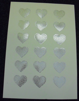 A4 220g Die Cut - Silver Foil Hearts t papertole.co.uk