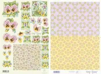 2 Sheets -  Mary Rahder - A4 120g Decoupage floral sheet with backing paper Mary Rahder