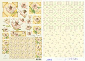 2 Sheets - Mary Rahder - A4 120g Quality - lily with FREE Backing sheet . Mary Rahder