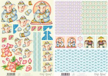 2xSheets - Mary Rahder - A4 120g Quality  -  Elephants with FREE  backing sheet E Mary Rahder