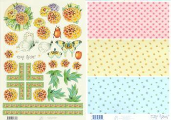 2 Sheets - Mary Rahder - A4 120g Quality Craft Sheet  - Butterflies- ladybird & flowers with FREE  Backing sheet g Mary Rahder
