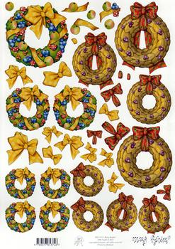 Mary Rahder - A4 120g quality craft sheet - christmas wreath . Mary Rahder