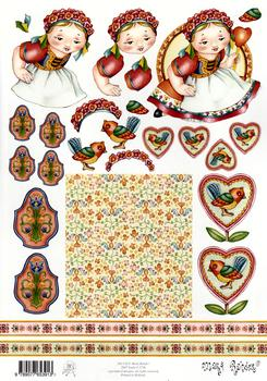 Mary Rahder - A4 120g Quality Craft Sheet  - Little dutch girl Mary Rahder