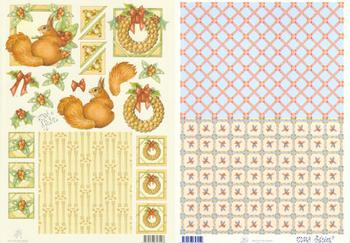 2 Sheets - Mary Rahder -  A4 120g Quality Christmas Squirrel sheet with FREE BACKING PAPER d Mary Rahder