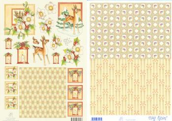 2 Sheets - Mary Rahder -  A4 120g Quality Christmas reindeer sheet with FREE BACKING PAPER qa Mary Rahder