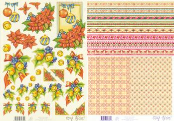 2 Sheets - Mary Rahder -  A4 120g Quality Christmas flower sheet with  FREE BACKING SHEET Mary Rahder