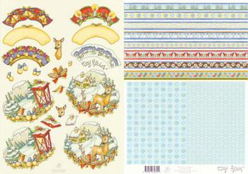 2 Sheets - Mary Rahder -  A4 120g Quality Christmas cottage sheet with FREE  backing paper 1 Mary Rahder