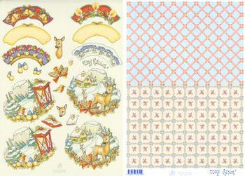 2 Sheets - Mary Rahder -  A4 120g Quality Christmas reindeer cottage sheet with FREE backing paper . Mary Rahder