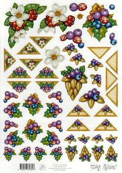 Mary Rahder - A4 Quality Christmas Craft Sheet  - Floral & Berries aq FANTASTIC OFFER!!!