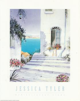 Mediterranean View - A Jessica Tyler Print - Steps upto the front door -