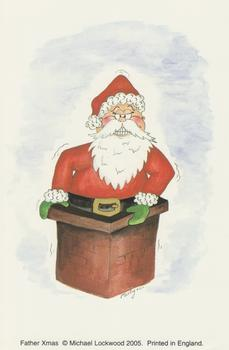 Card Topper - 10cm x 15cm FATHER CHRSITMAS PRINT by Michael Lockwood .