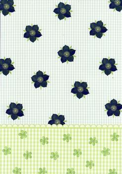 Quality Backing Paper Q - Blue Flowers with Scalloped Green Edge *