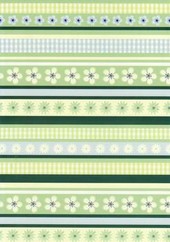 Quality Backing Paper R - Green & Blue Floral Borders *