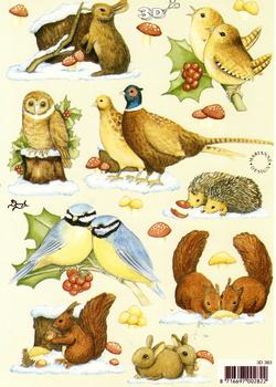 Christmas Animals - A5 sheet 3D Card Art Multi Image sheet