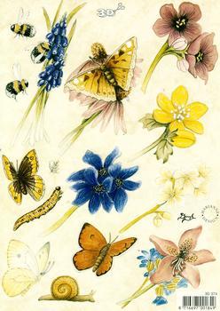 Flowers With Butterflies - A5 sheet 3D Card Art Multi Image sheet
