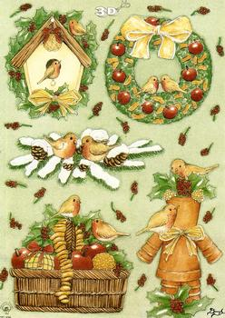 Christmas Theme - A5 Robins, Wreath and Basket of Food 3D Card Art Multi Image sheet