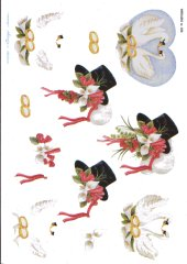 Wedding 1 - Wedding Hat, Doves & Wedding Rinds 480 3D Easymake Easy to follow instructions