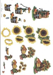 Sunflowers -  Sunflower Planter with Pumkins & Water Pump 410 3D Easymake Easy to follow instructions